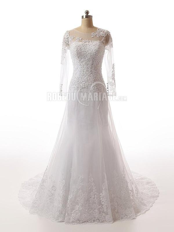 ... taille > Manches longues robe de mariée col rond en dentelle pas cher