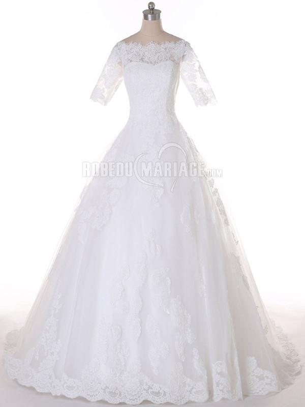 Col rond robe de mariée courte en dentelle à traîne courte pas cher