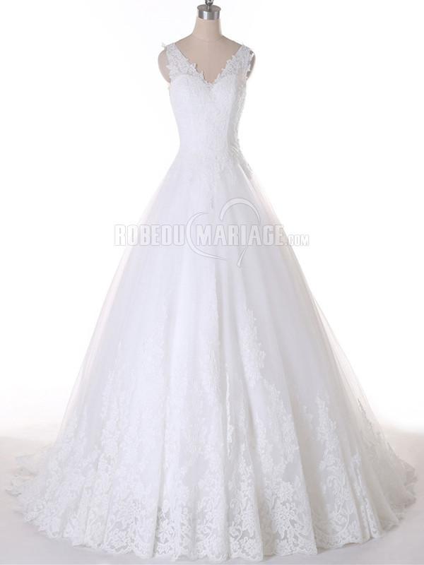 Robe de mariée jupe ample 2016 sans manches en dentelle à traîne courte