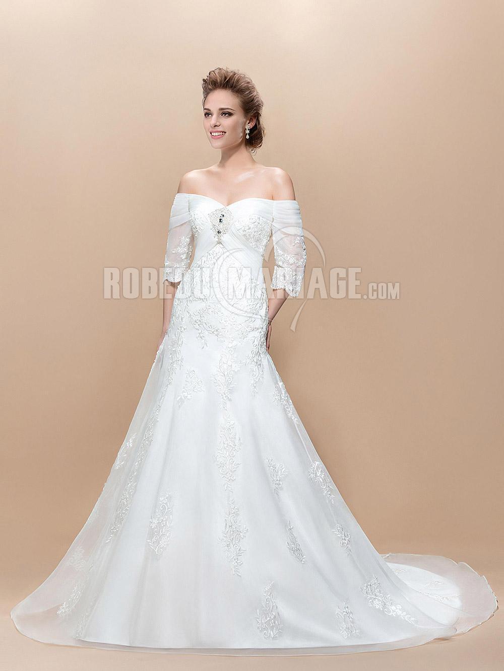 Col en coeur robe de mariée avec manches en dentelle pas cher [# ...