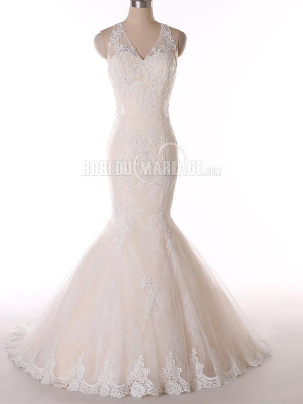 Col en V robe de mariée sirène avec bretelle en dentelle pas cher