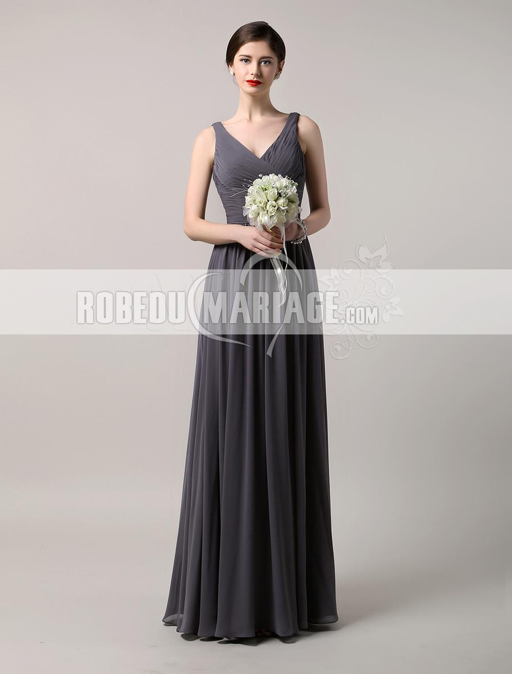 robe de demoiselle d 39 honneur pour mariage col en v robe en chiffon robe2012426. Black Bedroom Furniture Sets. Home Design Ideas