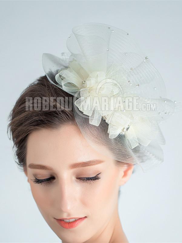 Coiffe mariage dentelle perles pas cher