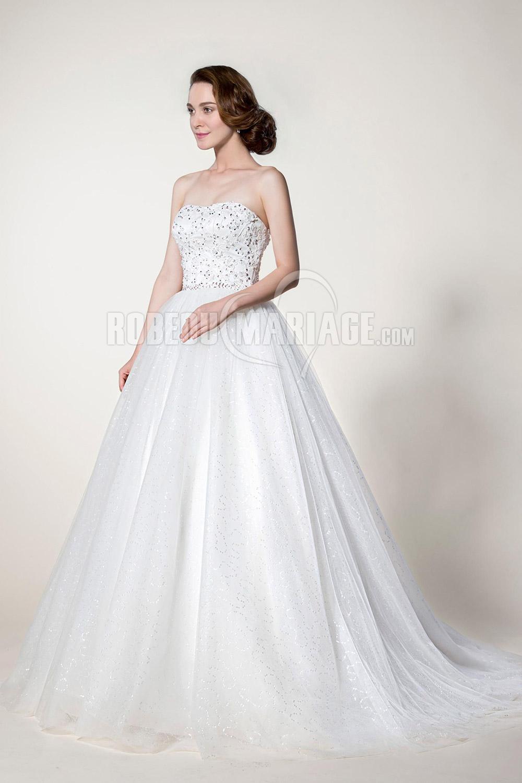 Bustier robe de mariée en tulle avec broderies perles sur mesure