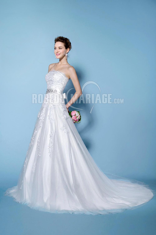 Traîne courte robe de mariée jupe ample en dentelle et tulle
