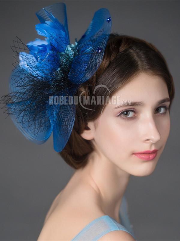 Belle coiffe mariage tulle plume en couleur