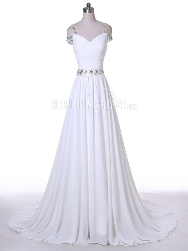 Bretelle fine robe de mariée col en V avec ceinture perles pas cher en satin