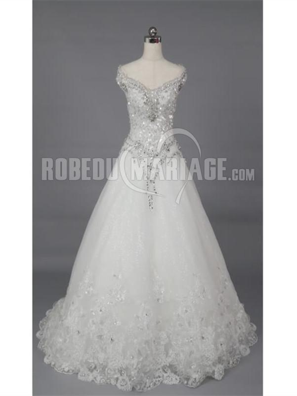 Robedumariage FR Elégante robe de mariée princesse strass en dentelle à traîne cathédrale