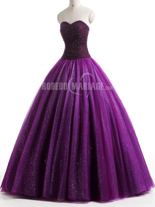 Sans bretelle robe de mariée en couleur col en coeur tulle pas cher