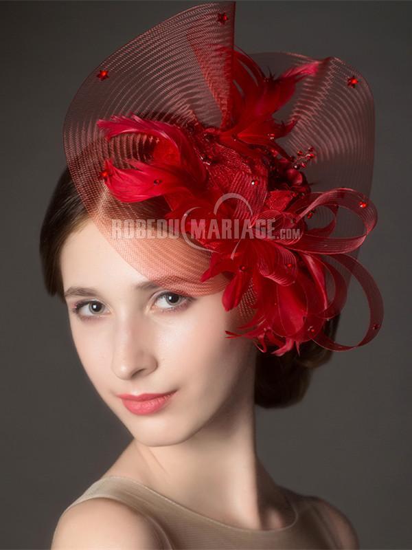 Coiffe de mariage rouge plume perles