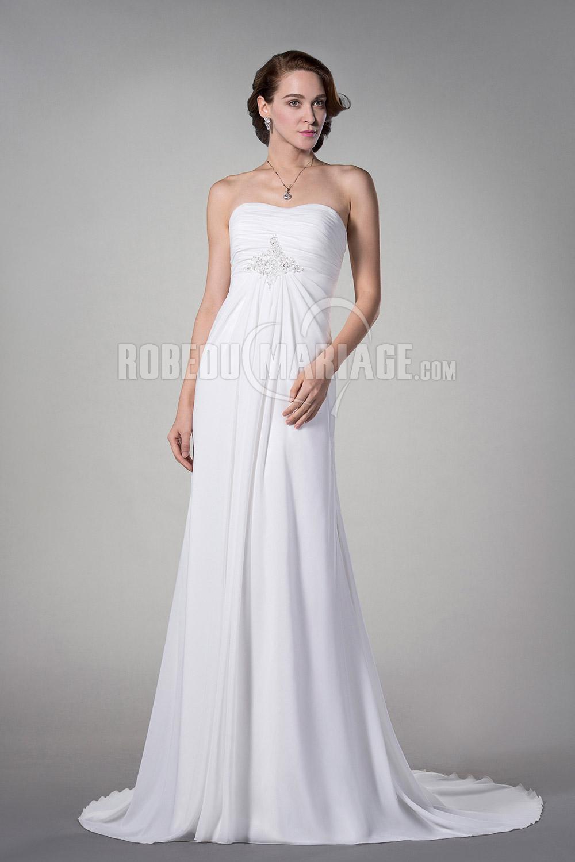 Robe de mariée enceinte sans bretelle en chiffon pas cher