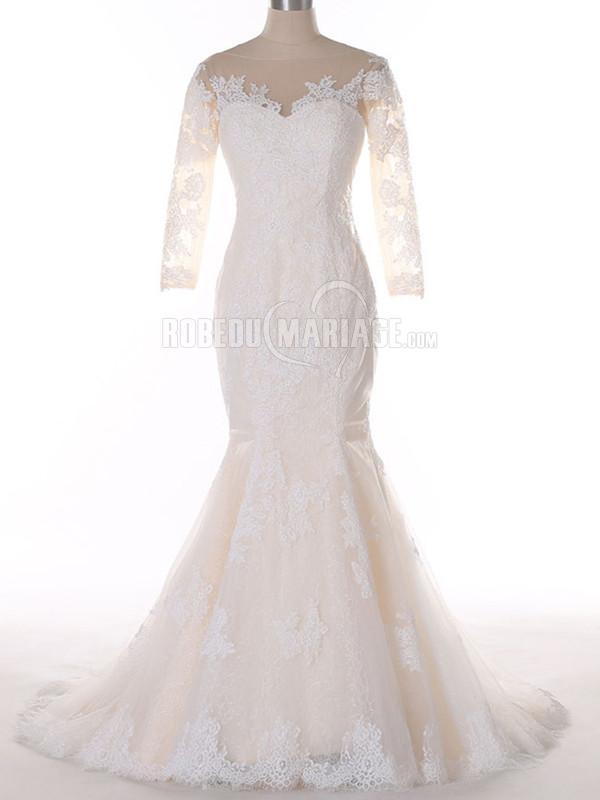 3/4 manches robe de mariage sirène col rond en dentelle sur mesure