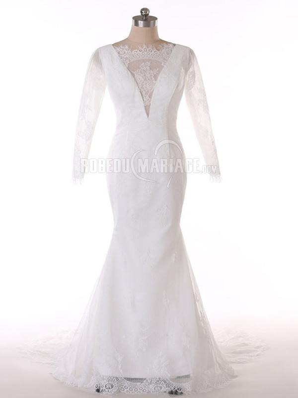 Manches longues col rond robe de mariée sirène en dentelle à traîne courte