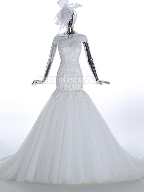 Col en coeur robe de mariée sirène 2016 en dentelle et tulle à traîne cathédrale