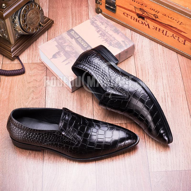 Chaussure de marié  à motif crocodile en peau de vache