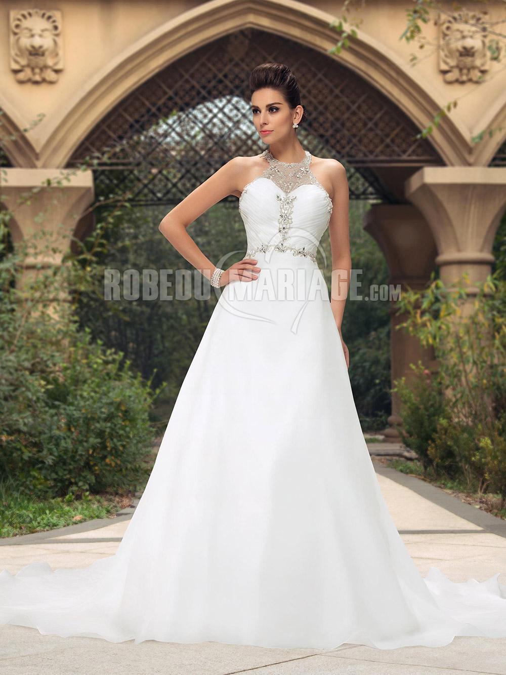 Bretelle au cou robe de mariée en chiffon avec broderies pas cher
