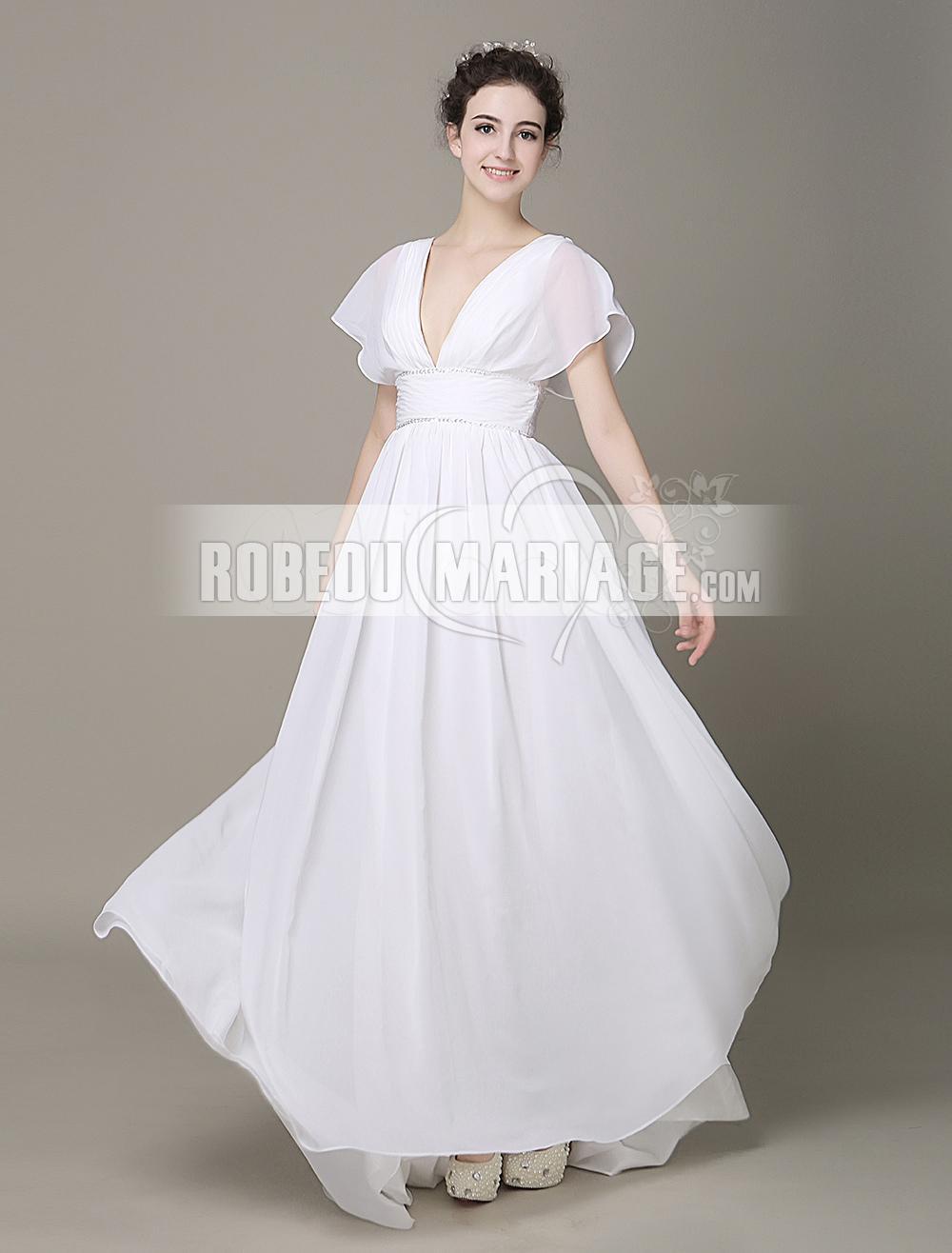Col en V robe de mariée enceinte en chiffon avec perles pas cher [# ...