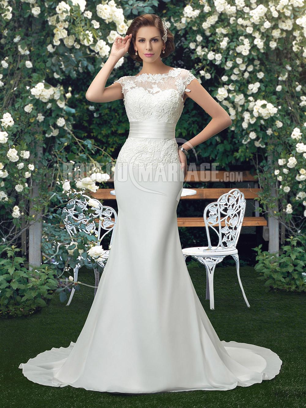 Sirène robe de mariée en satin dentelle pas cher sans manches