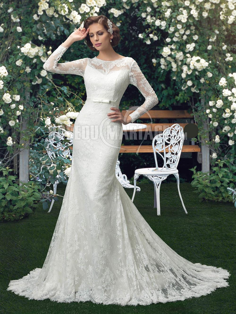 Dentelle robe de mariée manches longues pas cher