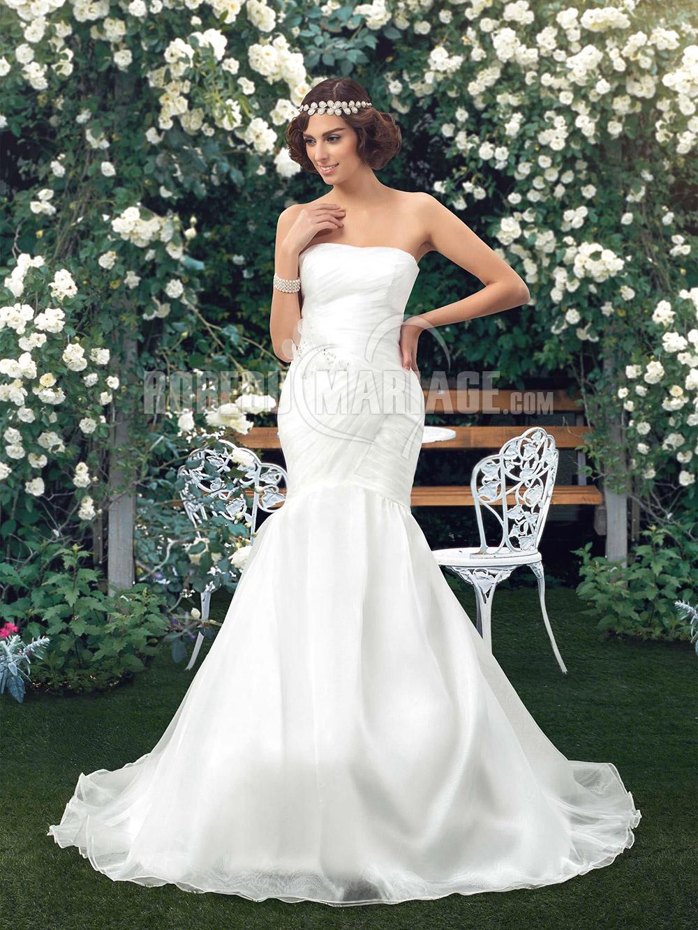 Robe de mariée sirène en organza avec décorations pas cher