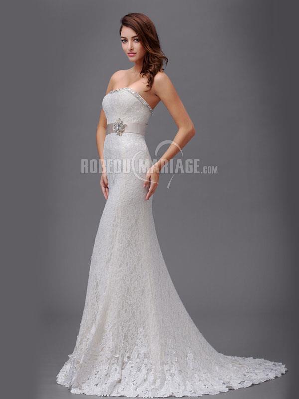 Bustier robe de mariée sirène en dentelle à perles avec ruban [# ...