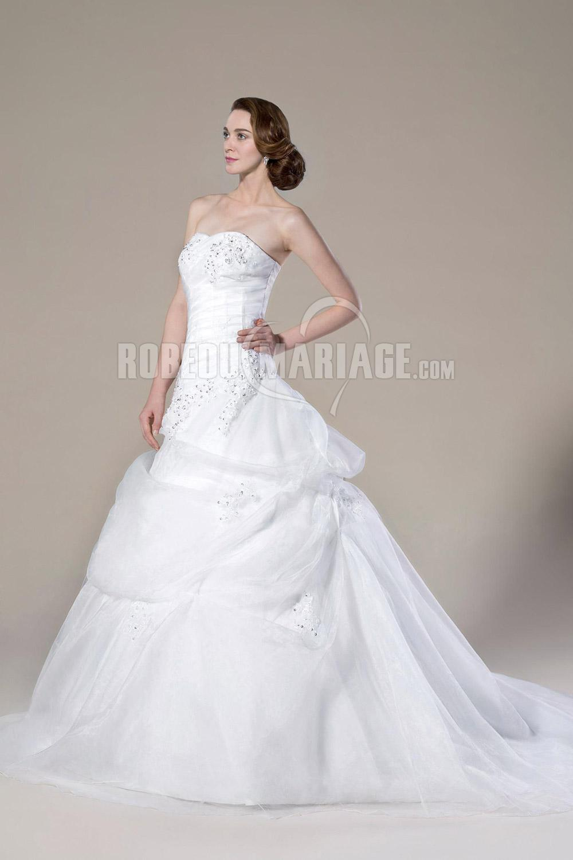 Robe de mariée Col en coeur princesse robe de mariée en organza avec applique et perles