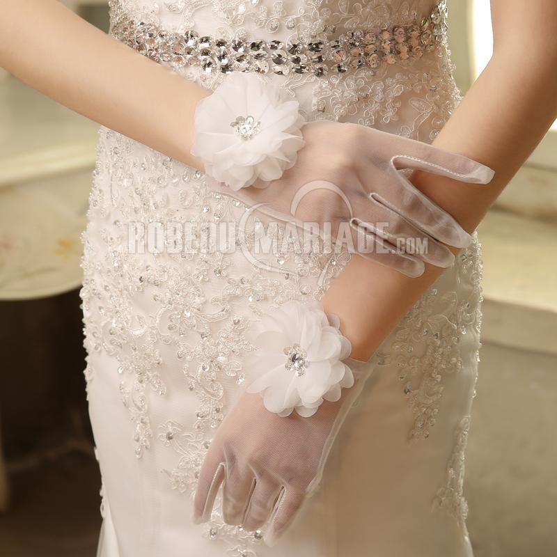 Robedumariage FR Gants de mariée courte avec fleur