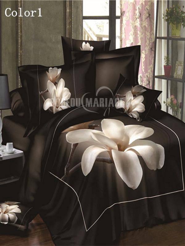 ligne de lit 4 pi ces 3d en fleur magnolia pas cher robe2012785. Black Bedroom Furniture Sets. Home Design Ideas