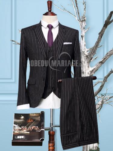 Robedumariage FR Bande noire Slim Fit costume homme pas cher