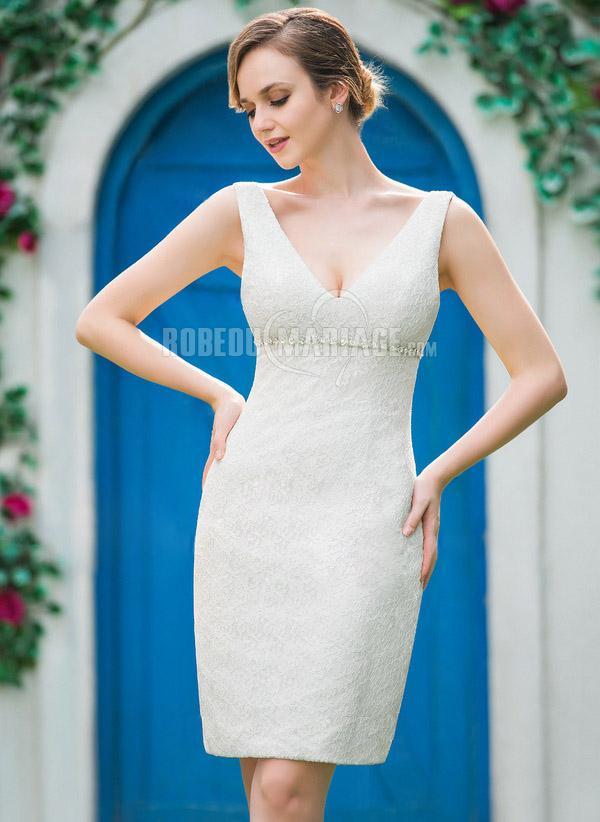 magnifique robe de mari e civile courte en dentelle pas. Black Bedroom Furniture Sets. Home Design Ideas