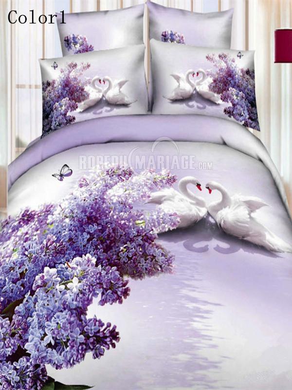 Literie Romantique 3D linge de lit décoré avec les  cygnes pas cher