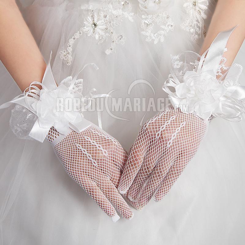 Robedumariage FR Gants de mariée en tulle et fleur pas cher