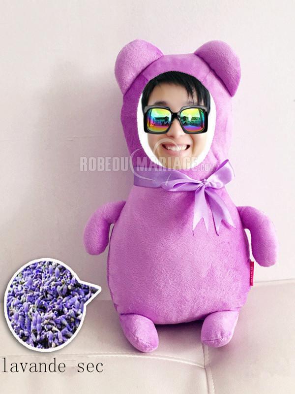 Robedumariage FR Lavande bear poupée photo personnalisé un cadeau d'anniversaire fille