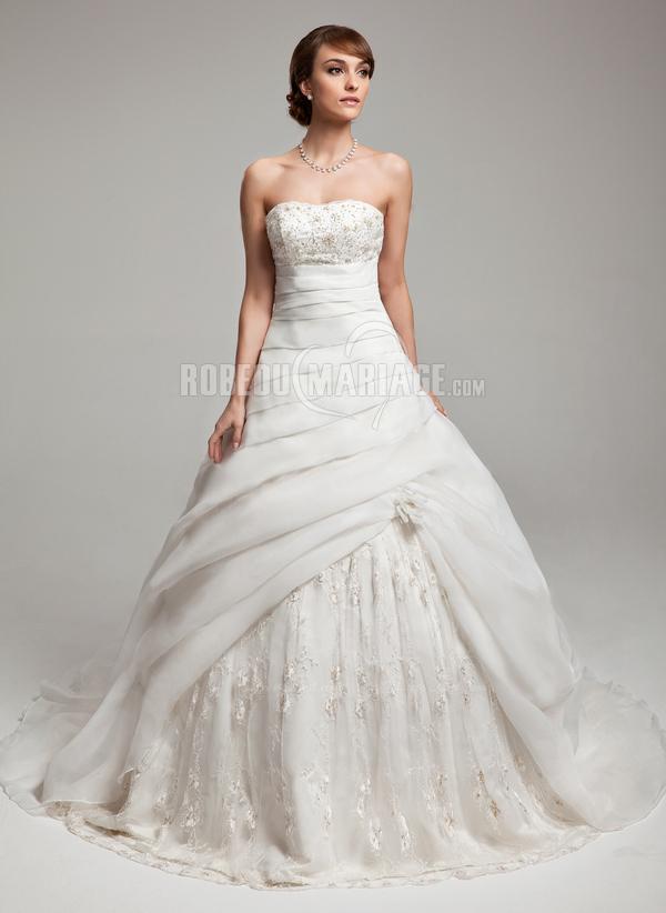 ligne robe de mariée bustier en organza dentelle perles pas cher [# ...