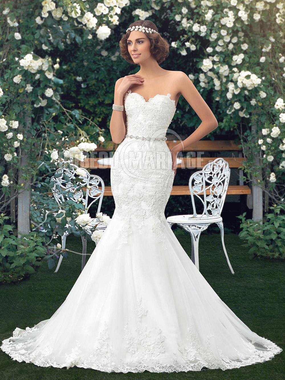 Dentelle robe de mariée sirène col en coeur sans bretelle pas cher ...