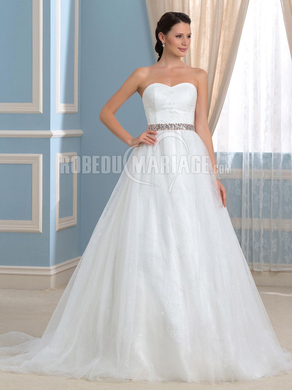 ... robe de mariée broderies avec ceinture perles pas cher - France