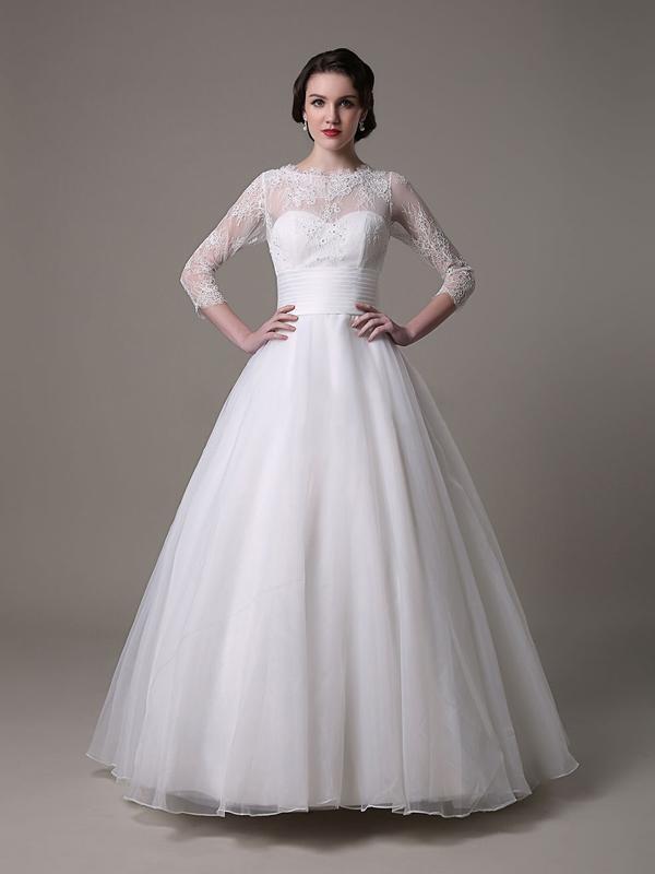 Robedumariage FR 3/4 manches robe de mariée en satin et en dentelle robe ornée de perles