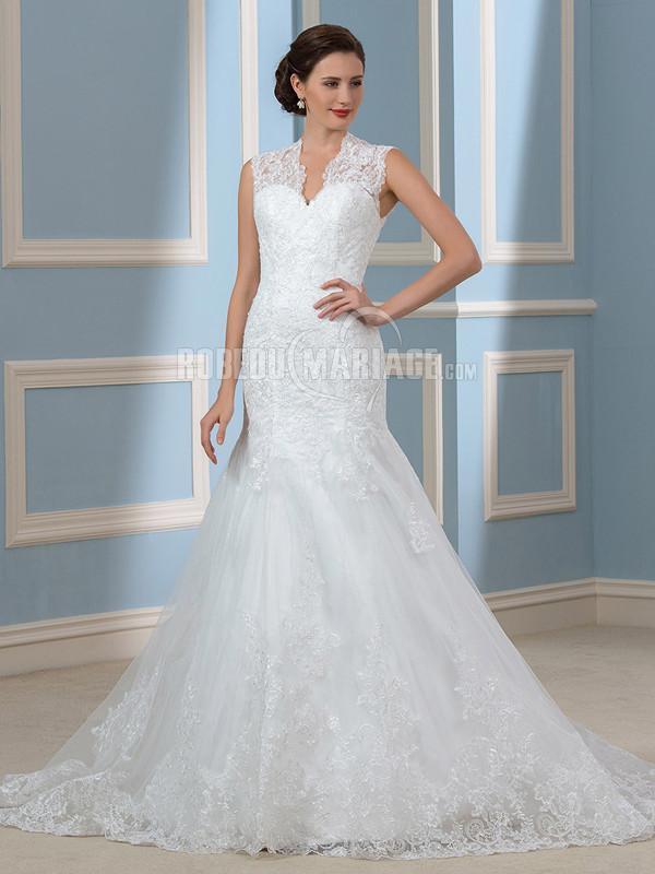 Robedumariage FR Élégante robe de mariée en sirène robe de mariée ornée d'appliques