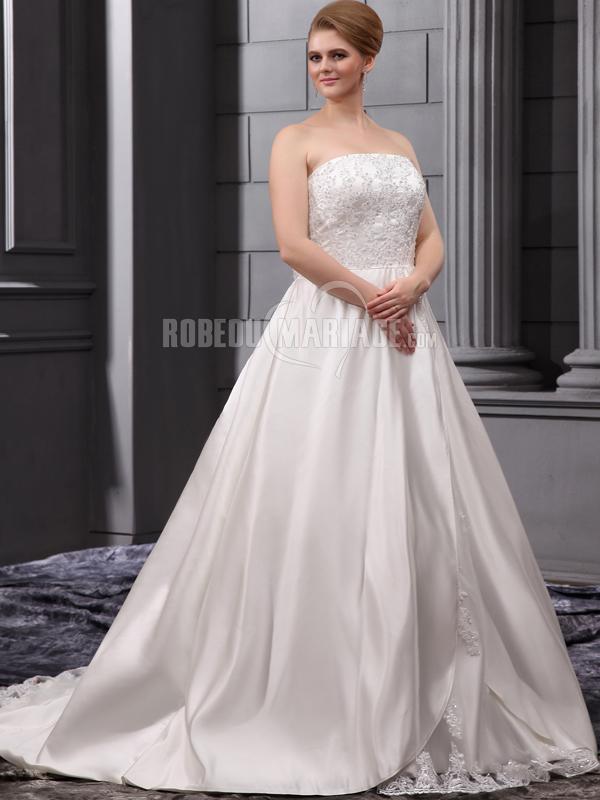 Robedumariage FR A ligne robe de mariée bustier de grande taille en satin ornée de perles et de paillettes