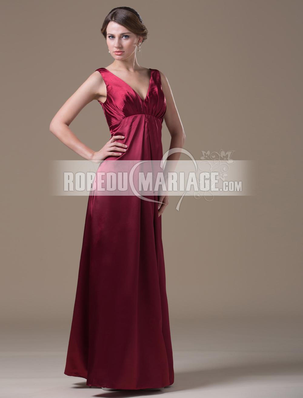 Robedumariage FR Elégante robe emoiselle d'honneur en satin avec un col en V longueur aux chevilles