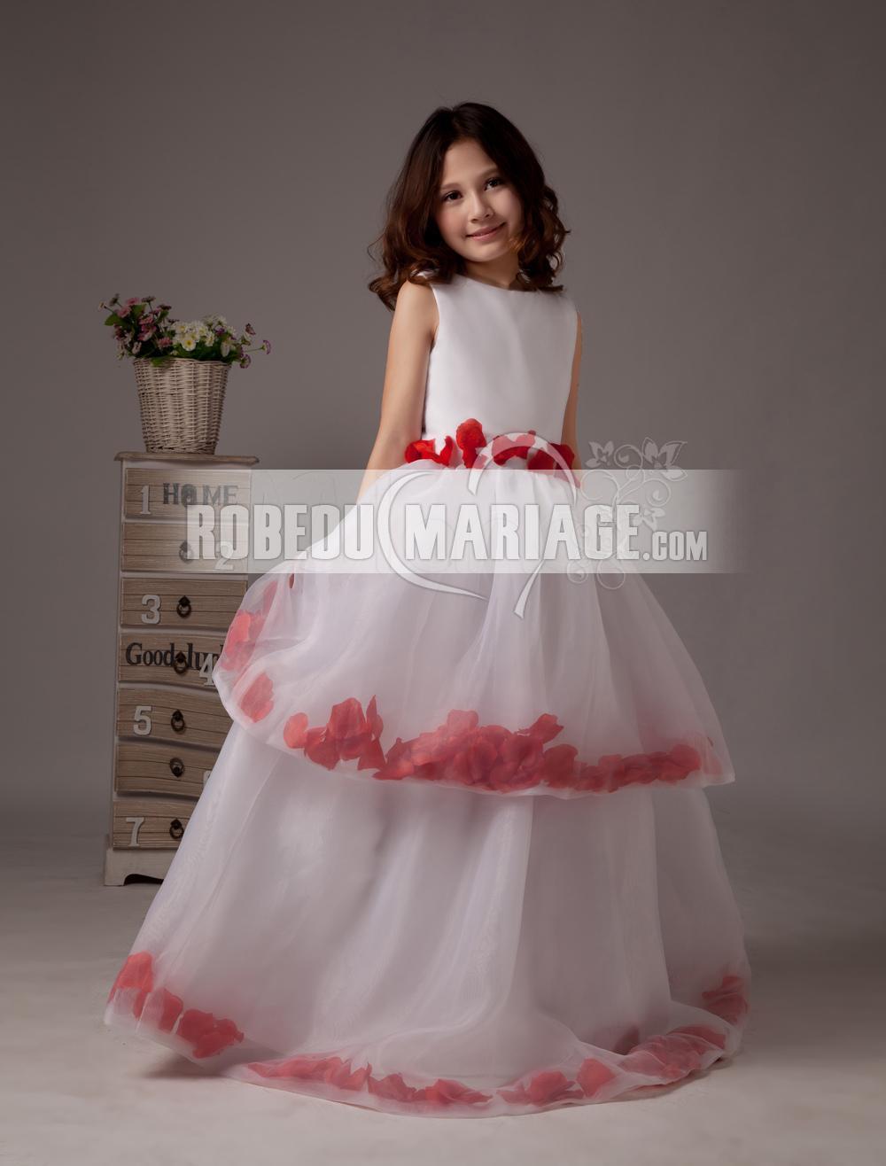 Robedumariage FR Magnifie robe de demoiselle d'honneur fille ornée d'appliques en forme de pétales