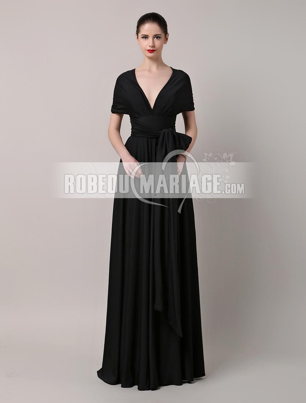 Robedumariage FR Elégante robe de soirée en satin avec un col en V robe avec ceinture