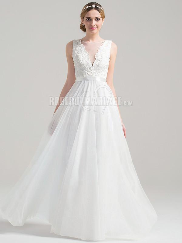 ... de mariée 2017 robe de mariée en satin ornée d appliques avec ruban
