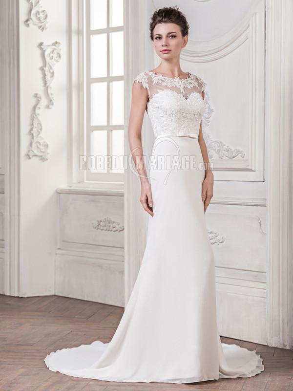 Robedumariage FR Élégante robe de mariée ornée d'appliques avec ceinture