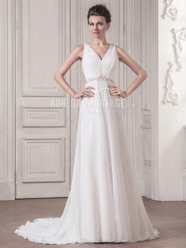 Robedumariage FR Élégance robe de mariée simple décorée de paillettes avec un col en V