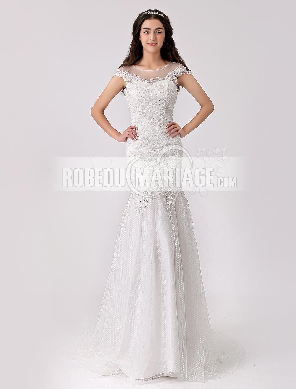 aea76cceadd Robe de mariée longue ornée de paillettes et d appliques