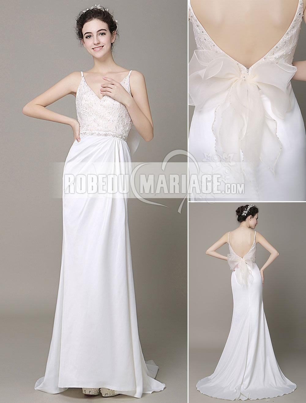 Robedumariage FR Dos nu robe de mariée 2017 ornée de strass avec bretelles fines