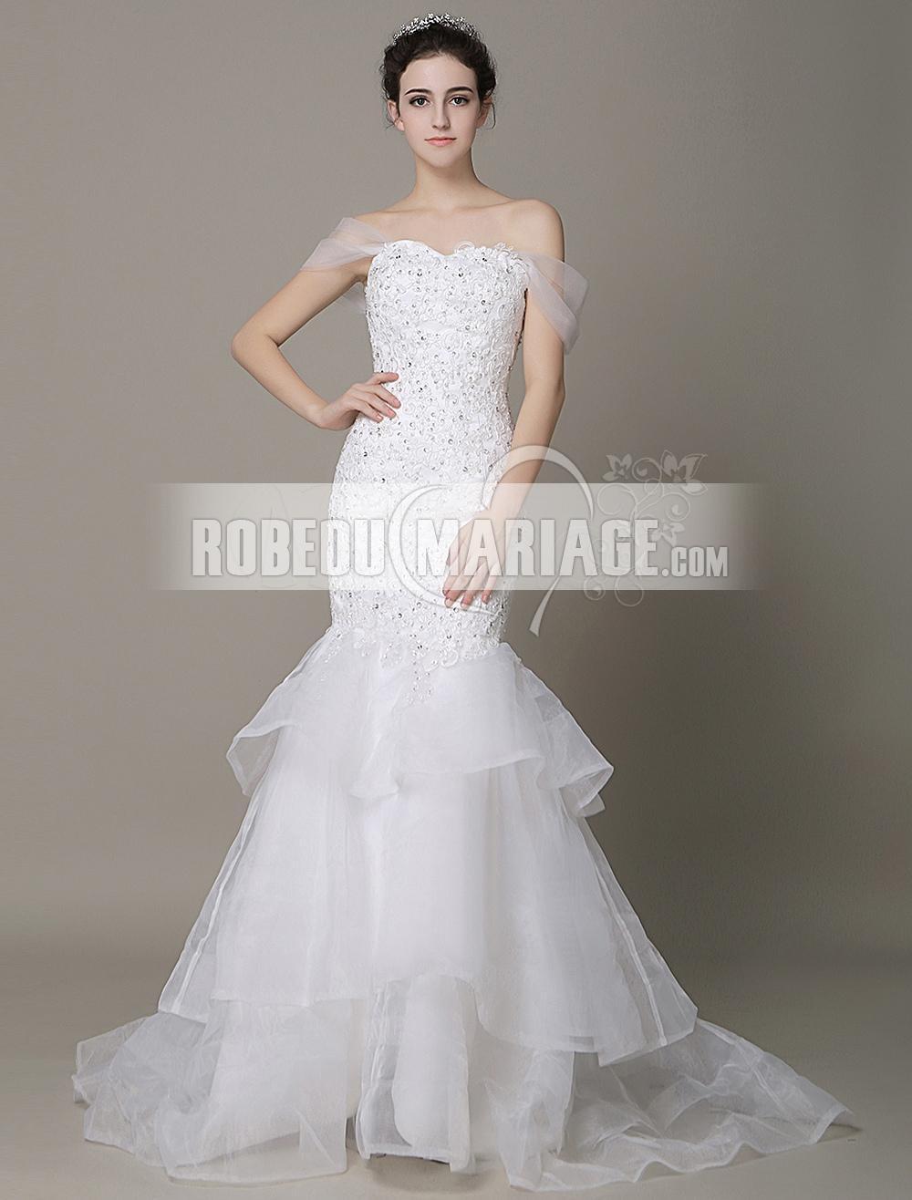 dd2a42abff2 Robe de mariée ornée de paillettes robe de mariée en sirène