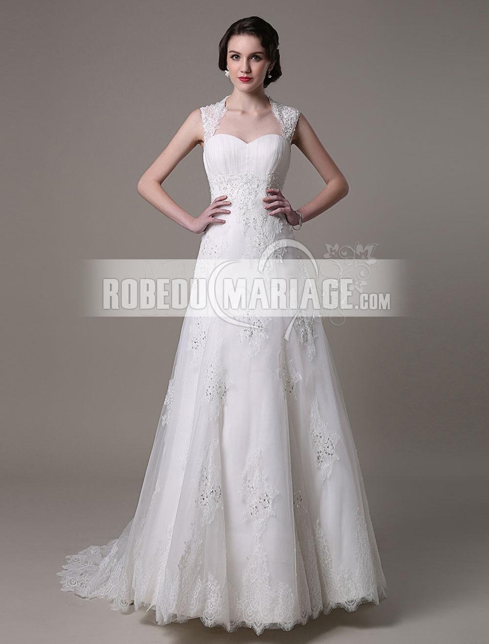 bdeb7d9dd6a A-ligne robe de mariée col carré en tulle saitn applique paillette