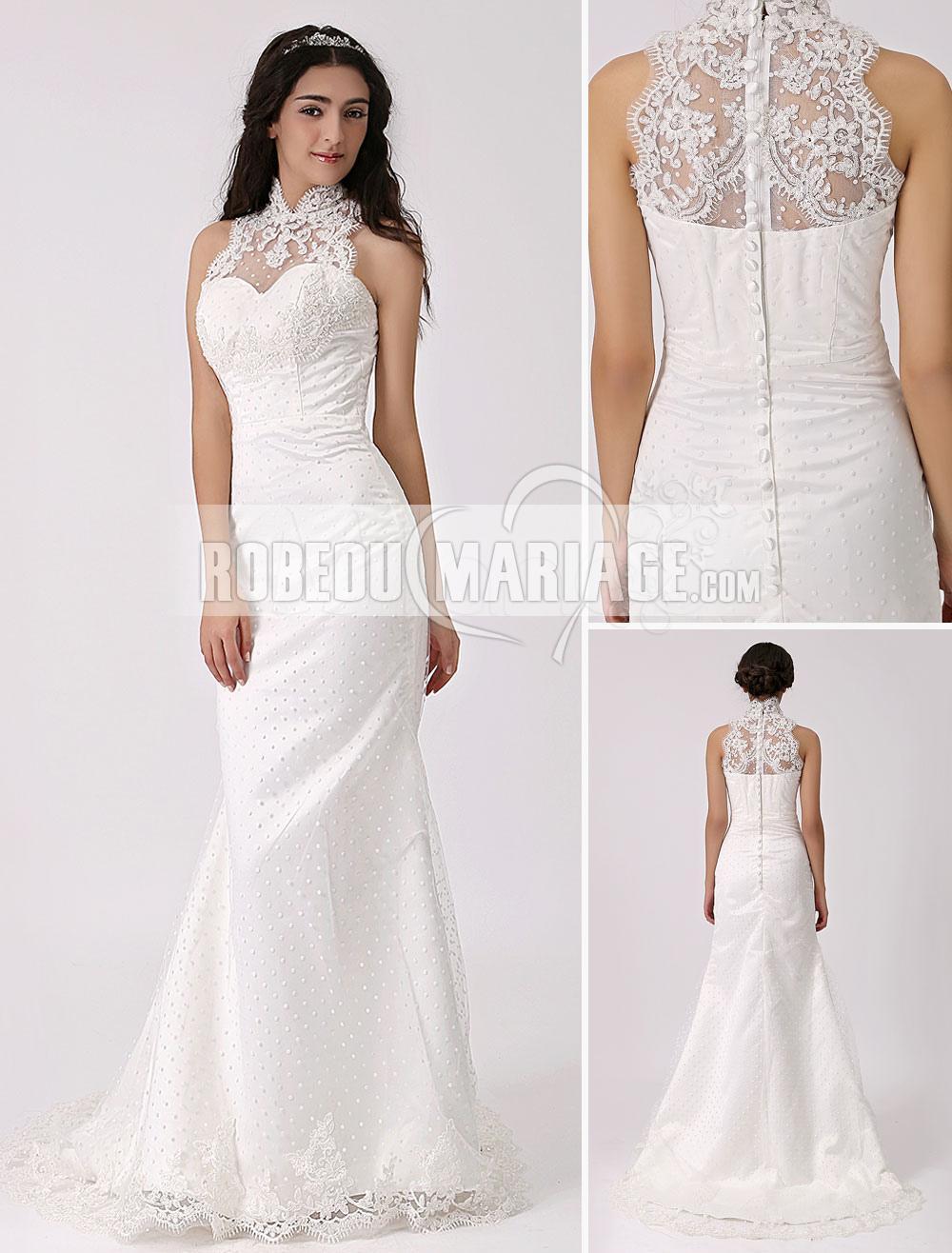 Robes de mariage Satin robe de mariée en bretelle au cou applique fourreau